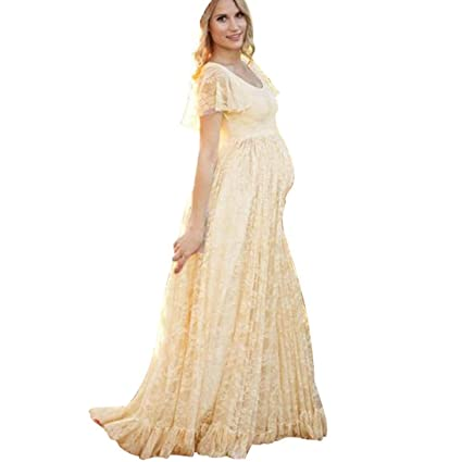 Photography Pregnant DressHemlock Women Floor Long Lace Maternity Dress M Yellow