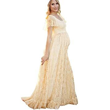 cf1827861b6bb Hemlock Photography Pregnant Dress, Women Floor Long Lace Maternity Dress  (3XL, Yellow)