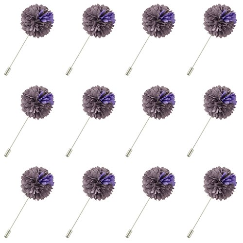 (FM FM42 Men's Grey & Violet Chiffon Carnation Flower Stick Brooch Pin Boutonniere for Suit Tuxedo Corsage (Pack of 12))