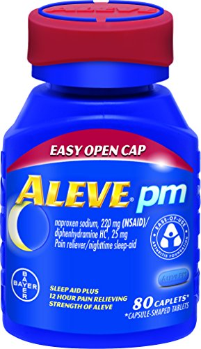 Aleve PM with Easy Open Arthritis Cap, Caplets with Naproxen Sodium, 220mg (NSAID) Pain Reliever/Fever Reducer/Sleep Aid, 80 Count (Caplets 220)