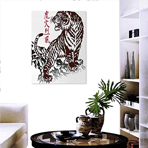 (Anniutwo Tattoo Canvas Print Wall Art Wild Chinese Tiger with Stripes and Roaring While its Paws on Rock Asian Pattern Wall Sticker 16