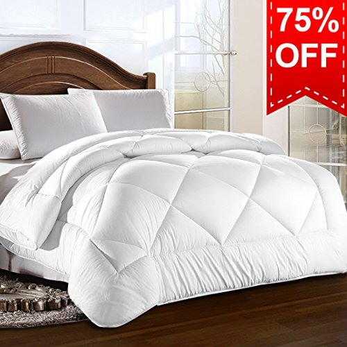 King Comforter Duvet insert with Corner Tabs for Duvet Cover 2100 Series, Snow Goose Down Alternative, Hotel Collection Comforter Reversible, Hypoallergenic Choice, Snow White, 90 by 102 inches (Warm Comforter)