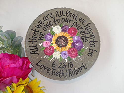 Memorial Stone withpainted Sunflowers PERSONALIZED Sunflower Garden Stone