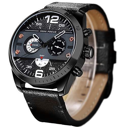 Mens Watch,Stone Casual Business Dress Sport Watch Analog Quartz Wrist Watch Leather Band(Black)