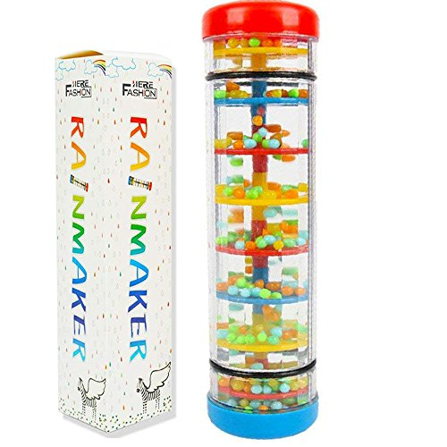 - Here Fashion 8''  Mini Rainmaker Toy for Babies Rainfall Rattle Tube Rain Stick Shaker Music Sensory Auditory Instrument Toy