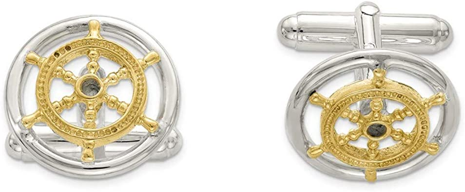 Sterling Silver Rhodium-plated Cuff Links for Mens Fine Jewelry Ideal Gifts For Women