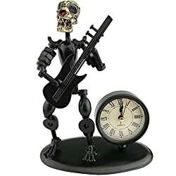 2 in 1 Balck Iron Art Nut And Bolt Skull Music Man Figure Elegant Unique Western Style Clock Watch ~Home Office Desk Decor Gift A05621(Electric Guitar)