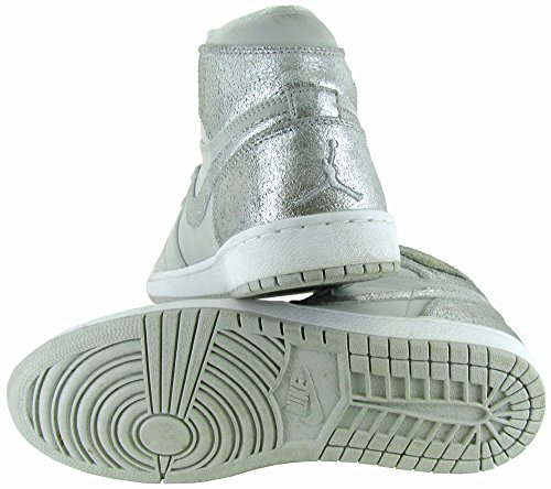 Silver NIKE Jordan Leather Grey Mens White Silver Air Retro 1 Hi wppFYxAq