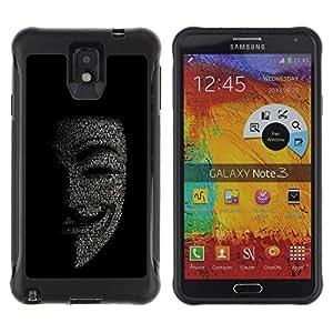 iKiki Tech / Estuche rígido - Mask Anonymous Hacker Code Tech Robot - Samsung Note 3