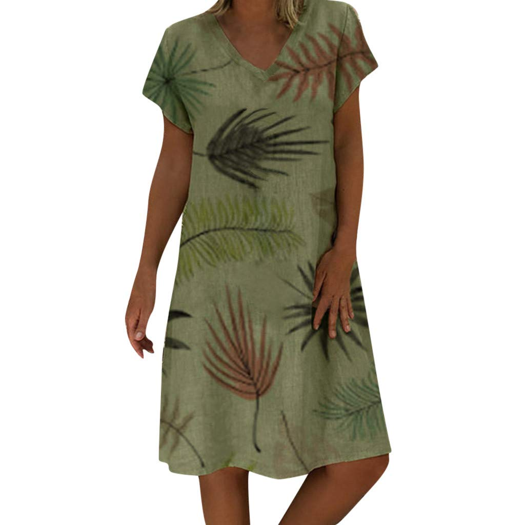 Women Summer Casual Style V-Neck Printed Casual Plus Size Ladies Dress Women's Loose Bohemian Short Sleeved Beach Dress (S, Green) by succeedtop Women