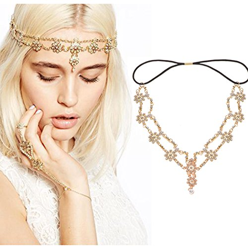 (Simsly Head Chains Jewelry with Pendant Gold Headpiece for Women and Girls FV-060)