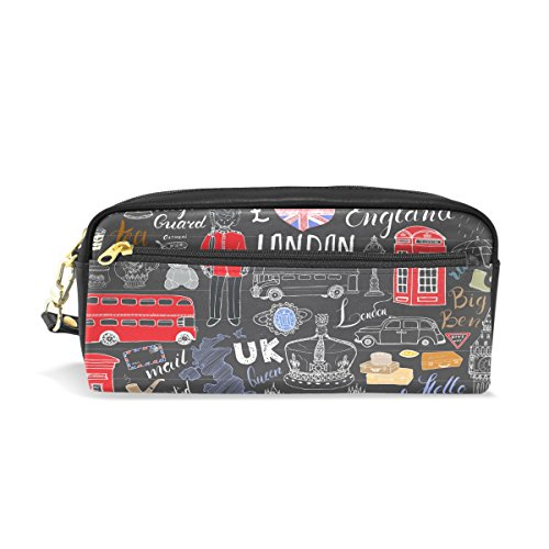 ALAZA London Big Ben Pencil Case Zipper PU Leather Pen Bag Cosmetic Makeup Bag Pen Stationery Pouch Bag Large Capacity