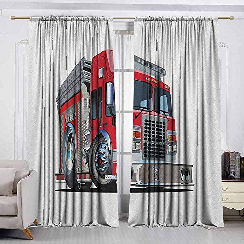 - VIVIDX Bedroom Curtains,Truck,Cartoon Style Red Fire Truck Emergency Services Safety of The City Transportation,Room Darkening Thermal,W55x39L Inches Red Pale Grey