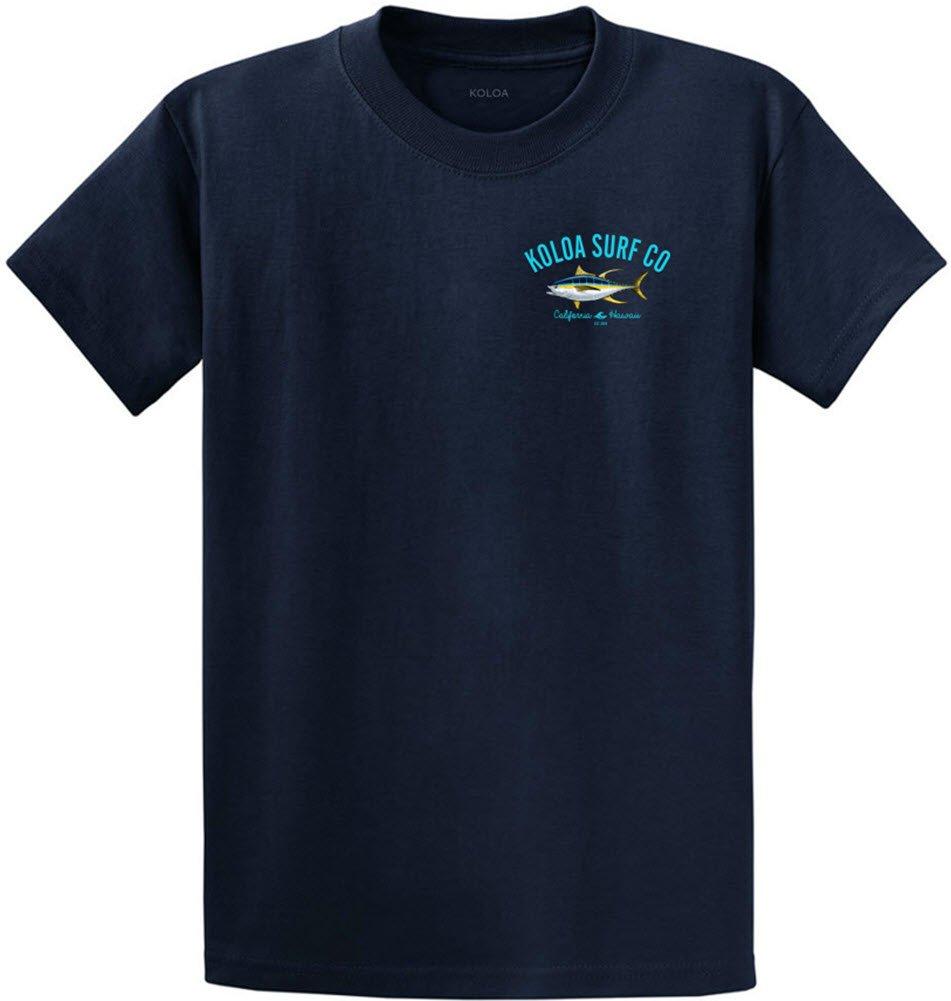 Joe's USA Koloa Surf カスタムグラフィック重量系コットンTシャツ レギュラー、ビッグ、トール B06Y3HWG39 L,Navy With Yellow Fin Tuna Logo