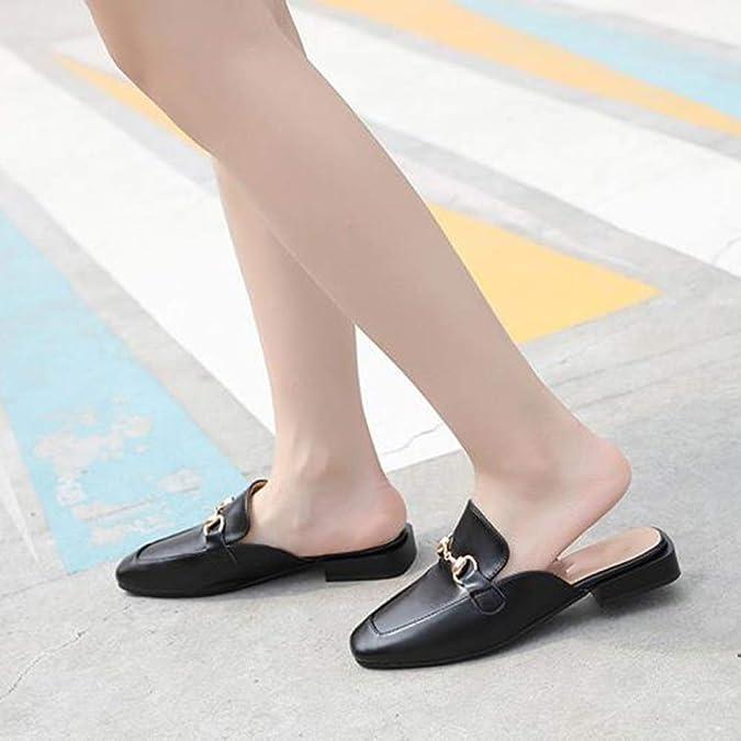 Zapatos De Mujer Gorra De Dedo Medio Zapatilla Muller Parte Inferior Plana Perezoso Sandalias Zapatillas: Amazon.es: Zapatos y complementos