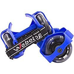 Webetop Kids Lighted Heel Skate Rollers Adjustable Two Wheels Skate Shoes Scooters,One Size Fits Most,60KG Weight Limited,With Portable Bag and Mini Wrench for Adjusting Size,Blue