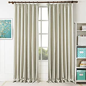 Beige Blackout Curtains and Drapes - KoTing 1 Panel Solid Light Khaki Curtains Beige Embossed Drapes Blackout 84 inch Long
