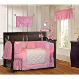 BabyFad Minky Pink 10 Piece Baby Crib Bedding Set