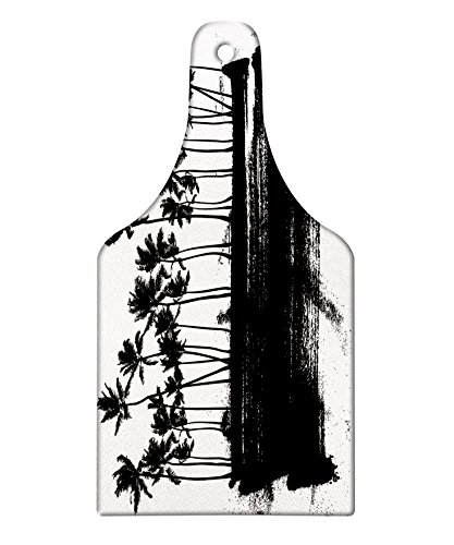 Lunarable Hawaii Cutting Board, Black and White Color Exotic Island Hand Drawn Summer Scene Windy Weather Tropical, Decorative Tempered Glass Cutting and Serving Board, Wine Bottle Shape, Black White by Lunarable