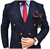 Lilis Men's Navy Blue Double Breasted Suits 2 Pieces Formal Blazer