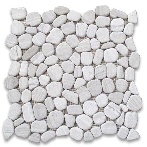 Athens Silver Cream Haisa Light Marble Pebble Mosaic Tile River Rocks Tumbled Non Slip Shower Floor ()