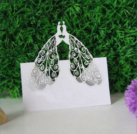 Usany Hot Sale 50ps Two Peacock Design Table Card Laser Cut Paper Place Card Guest Name Holder Wedding Party Feast Favors