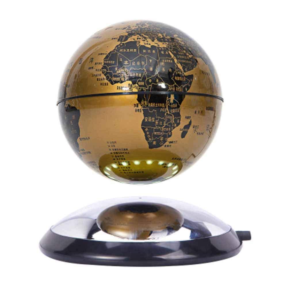 DONG Schwimmende Kugel der magnetischen Schwebe 6 '' Selbstdrehende Kugel Anti Schwerkraft Weltkarte Erde zum Kindererziehung Valentines Geschenke,Gold