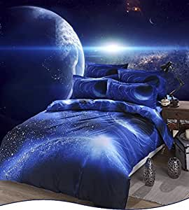 Etelux Ropa de Cama de 4 piezas, Cama de tamaño de Queen, diseño de galaxia infinita, color #4
