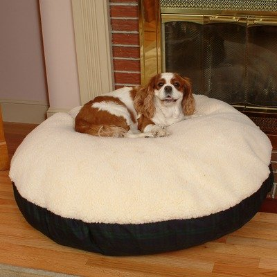 Snoozer Round Pillow Pet Bed, Black Snoozer with Fur, X-Large, Denim, My Pet Supplies