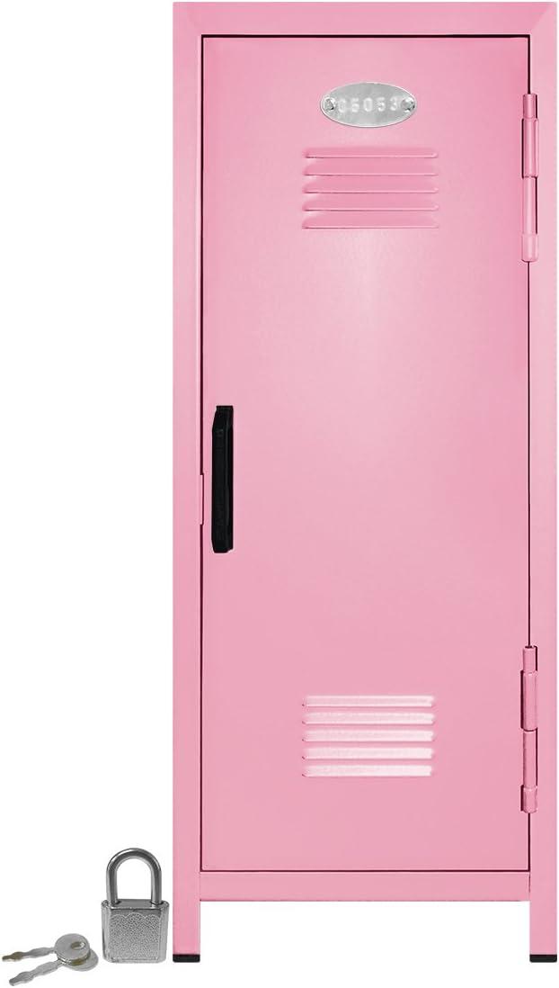 """Mini Locker with Lock and Key Light Pink -10.75"""" Tall x 4.125"""" x 4.125"""""""