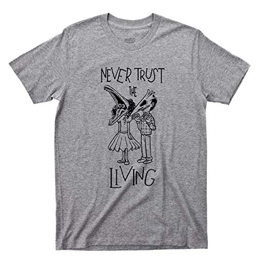 Never Trust The Living T Shirt Beetlejuice Lydia Deetz Tim Burton Movie Tee (3XL, Sport Gray)