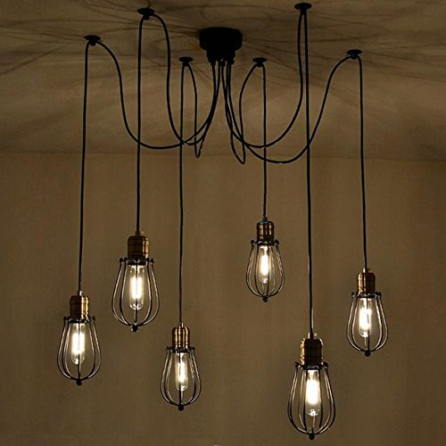 Vintage Light Fixtures Minneapolis: Kiven 6 Cages Industrial Chandeliers Antique Hanging Light