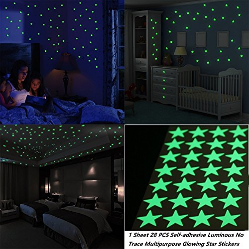 Stars Glow in the Dark Luminous Light Stickers,Removable adhesive Wall Decals for Bedroom (Decals In Glow Wall Dark That)