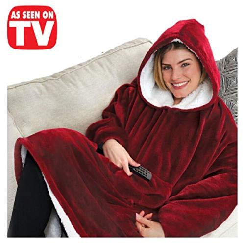 Womens Mens Hooded Ultra Plush Blanket Hoodie Sweatshirt Soft Warm Fleece Wearable Blanket Sleeves (One Size, Red)