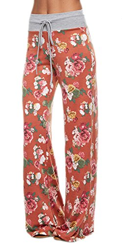 Marilyn & Main Women's Comfy Soft Stretch Pajama Pants,Rust,Medium