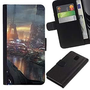 KLONGSHOP // Tirón de la caja Cartera de cuero con ranuras para tarjetas - Futuro París Francia - Samsung Galaxy Note 3 III //