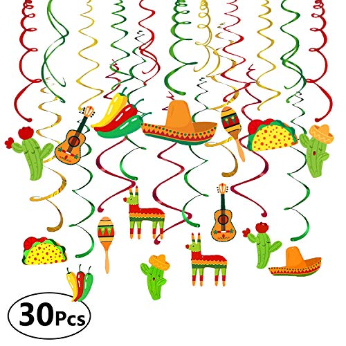 (Sandeye 30PCS Mexican Fiesta Cinco De Mayo Party Supplies, Hanging Swirl Decorations, Taco Twosday Birthday Theme, First 1st Boys Girls Baby Shower Paper Decor, Sombrero Cactus Kids Favors)