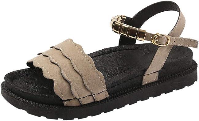 Sandales Plates Femmes Peep Toe Bord Ondulé Nu Pieds Femmes