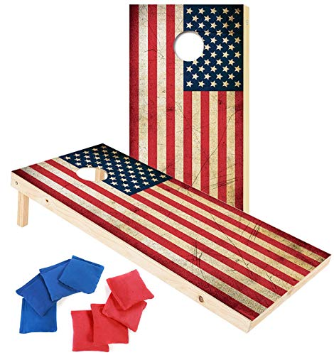 (EXERCISE N PLAY Premium Wood Cornhole Set,Portable Custom Regulation Size Cornhole Boards 8 Cornhole Bean Bags (4ftx2ft) (American)
