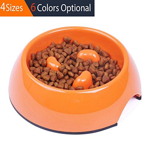 Orange Bowl Small (SuperDesign Three Columns Style Melamine Non-skid Slow Feed Bowl, For Dog and Cat, Small, Orange)