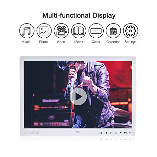 Digital Photo Picture Frame, Andoer 15 inch Digital Picture Frame 1280x800 HD Resolution 16:9 Wide Picture Screen Offers a Clear and Distinct Display (White) by Andoer (Image #4)