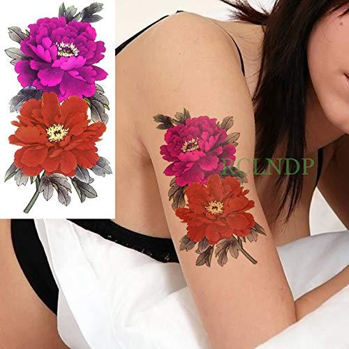3 PC Impermeable Rosa roja engomada del Tatuaje de la Flor del Oro ...