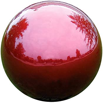 VCS RED12 Mirror Ball 12-Inch Red Stainless Steel Gazing Globe