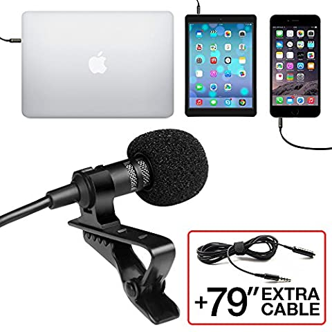 Professional Grade Lavalier Lapel Microphone ­ Omnidirectional Mic with Easy Clip On System ­ Perfect for Recording Youtube / Interview / Video Conference / Podcast / Voice Dictation / - Drum Kit Microphone System