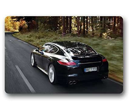 Porsche Panamera Turbo Custom Outdoor Indoor Doormat Personalized Design Machine-Wahable Neoprene Rubber Doormat 23.6
