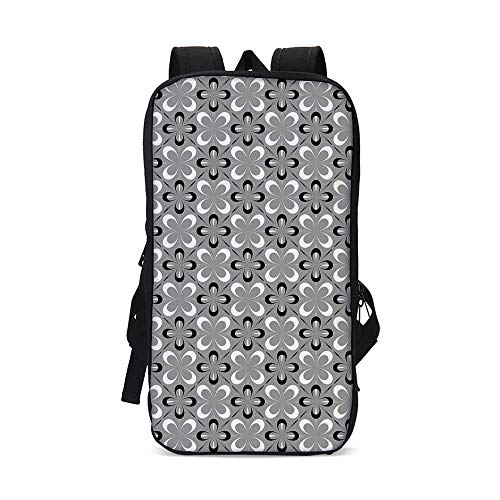 Grey Compatible with iPad Backpack,Contemporary Floral Graphic Print Various Sized Four Leaf Clovers Mod Decorative Decorative for School Office,9.8