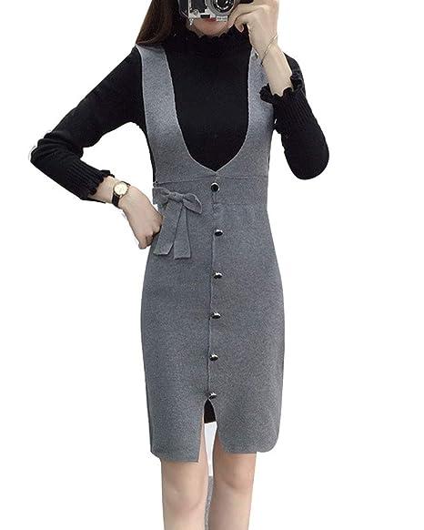 Mujer Petos Vestido De Punto Retro Elegante Midi Falda Gris Un ...