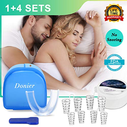 Anti Snoring Mouth Guard, 4 Set Snore Stopper Nose Vents Nasal Dilators Snoring Solution Sleep Aid Night Mouth Guard Bruxism Mouthpiece Snore Reduction Stop Snoring Device Teeth Grinding from Donier
