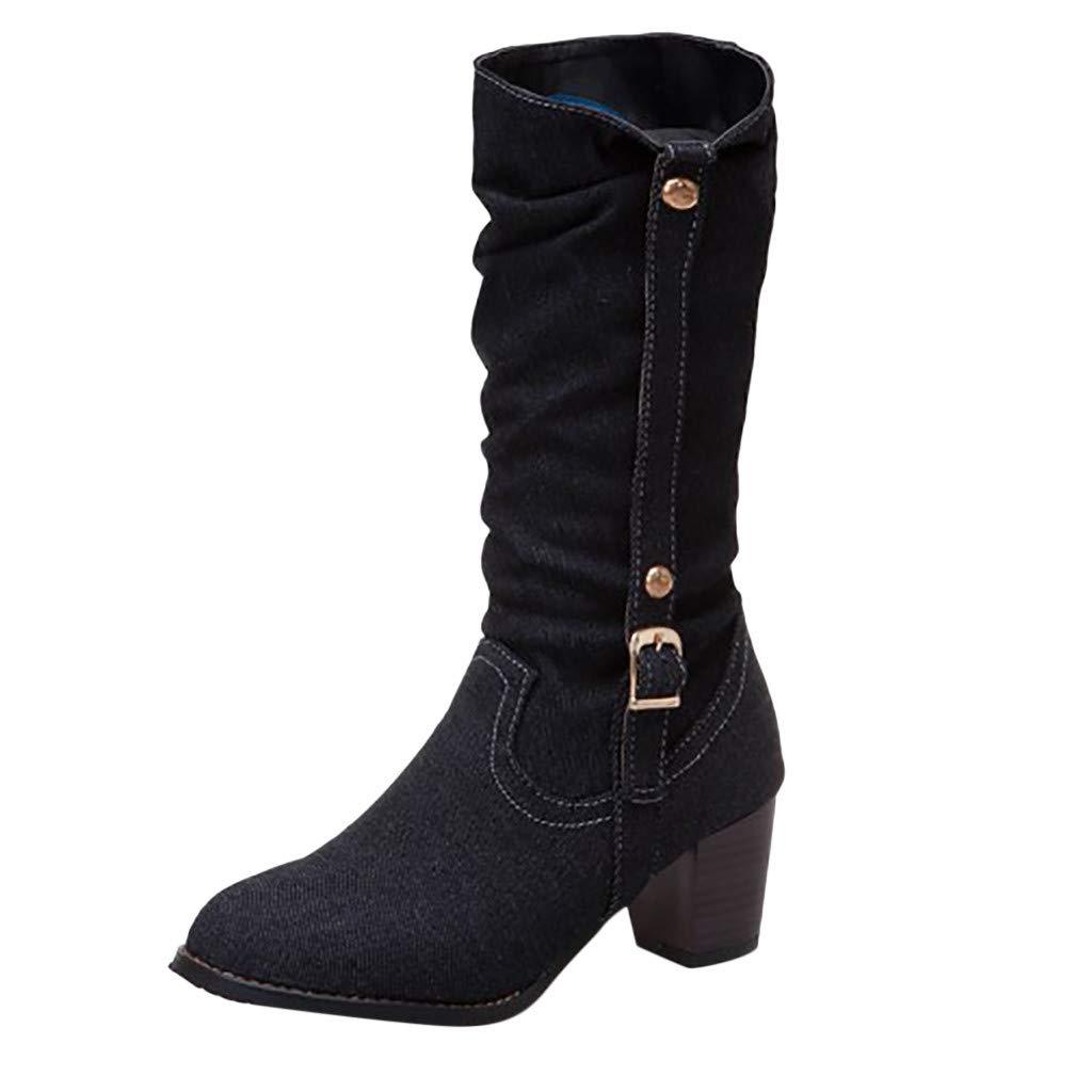 Kauneus Women's Classic Canvas High Boots Round Toe Chunky Low Heel Soft Comfortable Fashion Boot Black