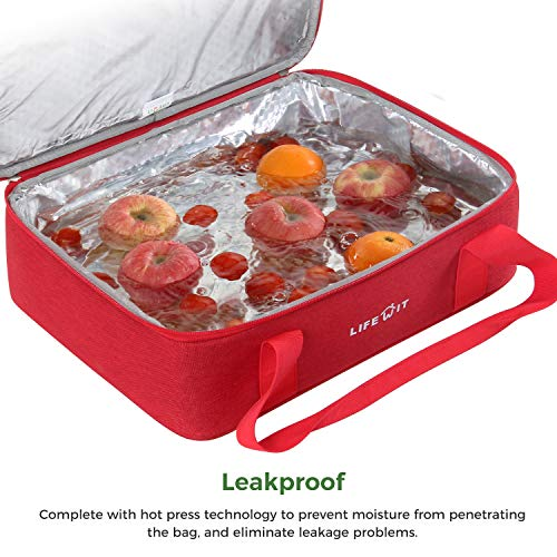 Lifewit Insulated Casserole Dish Carrier Thermal Lasagna Lugger for Potluck  Parties/Picnic/Beach (Red-Single)
